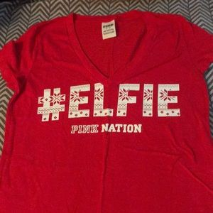 Victoria's Secret pink #elfie T-shirt. Size M, red
